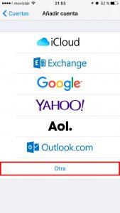 Otro servicio de correo iPhone